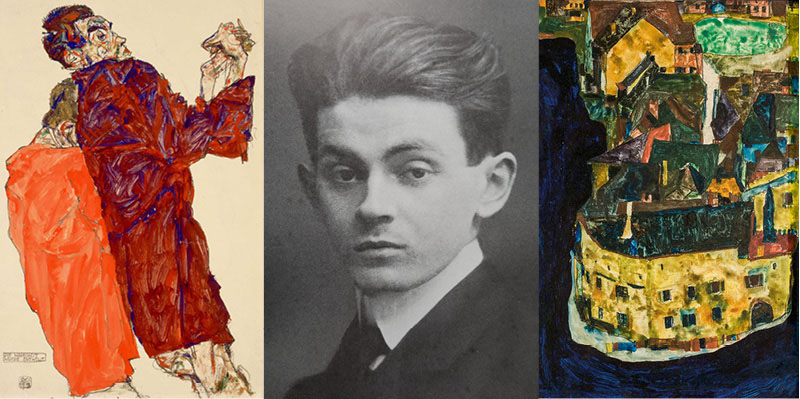 From Left: Jane Kallir Drawing number 1433, The Truth Unveiled; photograph of Egon Schiele, 1909, and Jane Kallir Painting number 212